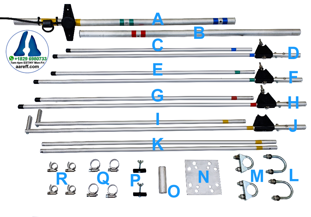 Veronica® Aareff four element yagi parts list