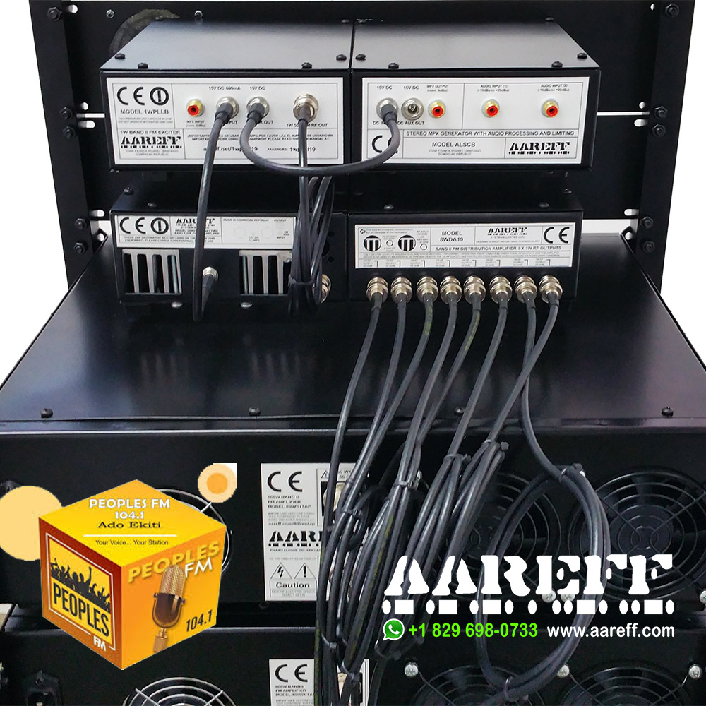 Back panel view of the Aareff 8 way distribution amplifier connected to each one of eight 800W amplifiers. Total transmitter power 6.4kW
